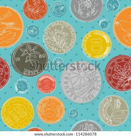 Seamless money pattern - stock vector