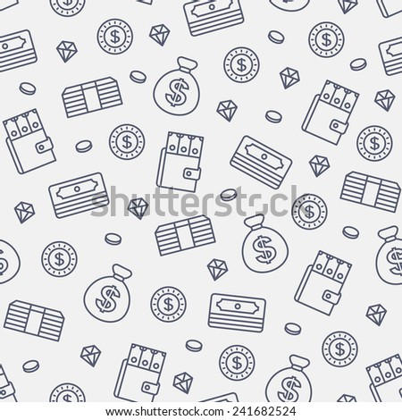 seamless money pattern on white background - stock vector