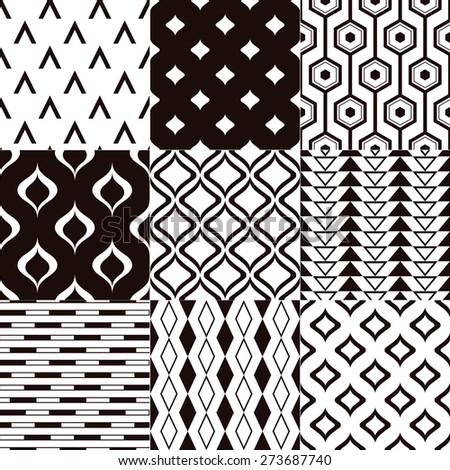 seamless monochromatic abstract geometric mesh pattern - stock vector