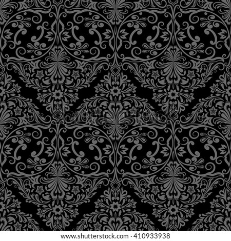 Seamless monochrome black and grey floral vector wallpaper pattern. - stock vector