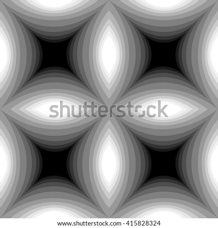 Seamless Monochrome Concave Rectangles Pattern Glowing from dark to light.Visual Volume and Depth Effect.Geometric Abstract Background.Suitable for textile,fabric,packaging and web.Vector Illustration