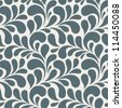 Seamless monochrome floral pattern. Vintage seamless background with blue leaves - stock vector