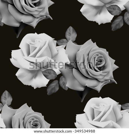 Seamless monochrome floral pattern with roses on black background. Vector illustration.