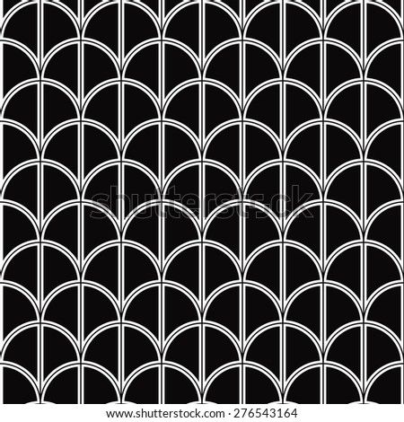seamless monochrome half circle pattern. each detail in separate layer. - stock vector