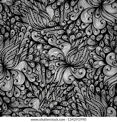 Seamless monochrome hand drawn pattern with fantasy flowers. Eps10 - stock vector