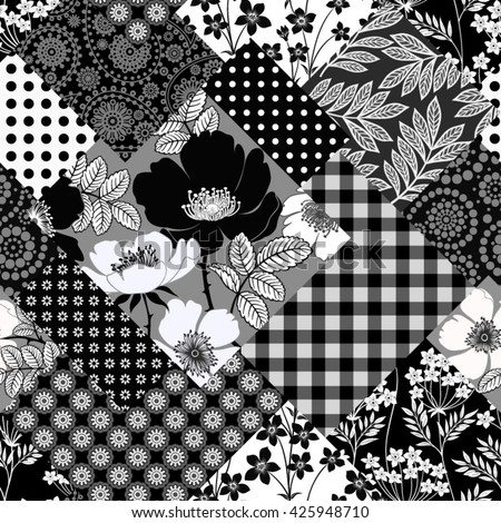 seamless monochrome patchwork pattern with black dog-rose