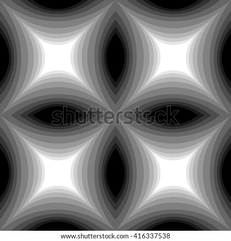 Seamless Monochrome Pattern of Concave Rectangle Glowing from dark to light. Visual Volume Effect.Geometric Abstract Background. Suitable for textile, fabric, packaging and web.Vector Illustration.