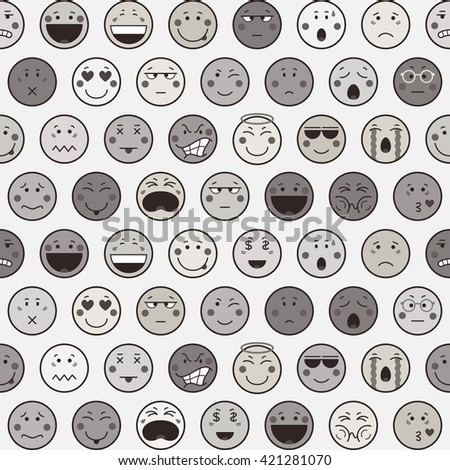 Seamless  monochrome pattern with emoticons on white background. Emoji background. Icons design in flat style. Vector illustration. - stock vector