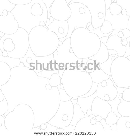 Seamless monochrome pattern with hearts for your design