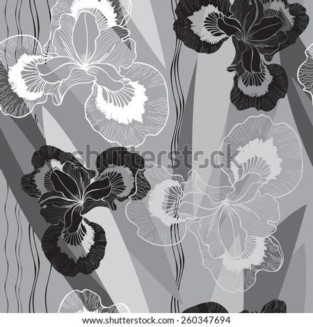 Seamless monochrome pattern with irises.  - stock vector