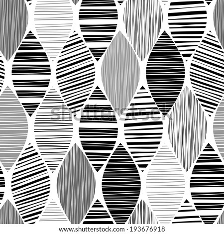 Seamless monochrome pattern with striped abstract leaves. - stock vector