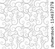 Seamless monochrome swirly patterns, vector background. - stock photo
