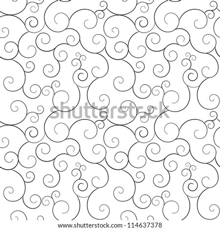 Seamless monochrome swirly patterns, vector background. - stock vector