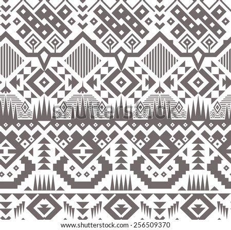 Seamless Monochrome Tribal Pattern. Ethnic Vector Background with Triangles, Rhombus and Stripes - stock vector