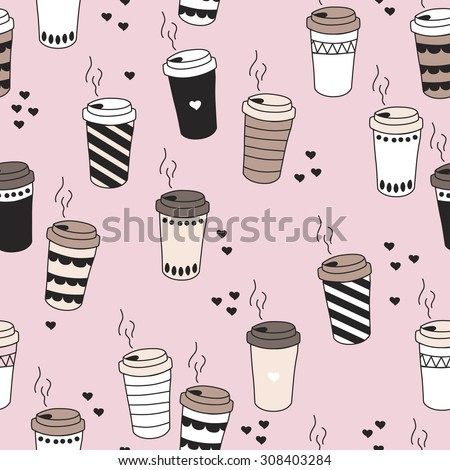 Seamless morning coffee hot drink cup tea to go illustration with hearts and stripes pastel background pattern in vector - stock vector
