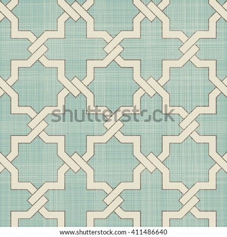 Seamless Moroccan pattern in turquoise and beige on texture background. Ethnic pattern. Can be used for ceramic tile, wallpaper, linoleum, surface textures, web page background - stock vector