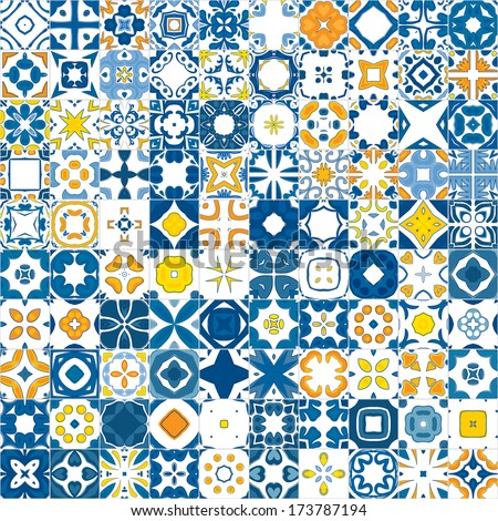 Seamless mosaic pattern made of llustrated tiles - like Portuguese tiles - stock vector
