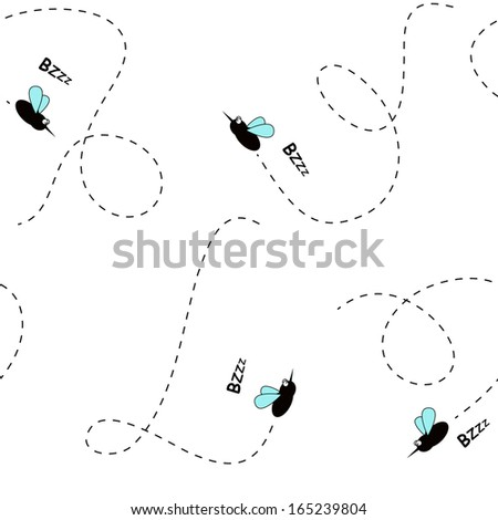 Seamless mosquito cartoon background - stock vector