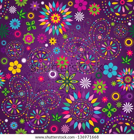 Seamless motley vivid violet floral pattern with colorful flowers, butterflies and decorative circles (vector) - stock vector