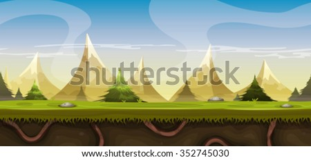 Seamless Mountains Landscape For Game Ui/ Illustration of a cartoon seamless summer or spring mountain landscape, with grass, roots, pine trees and firs for ui game or travel and seasonal background - stock vector