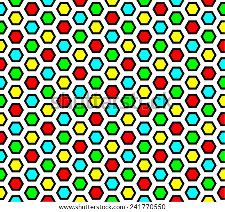 seamless multi-colored hexagon background  - stock vector