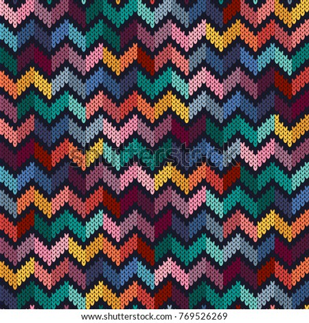 Seamless Multicolored Knitted Pattern Zigzag Knitted Texture Vector