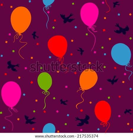 seamless - multicolor balloons flying in the sky with birds and confetti on purple background - stock vector