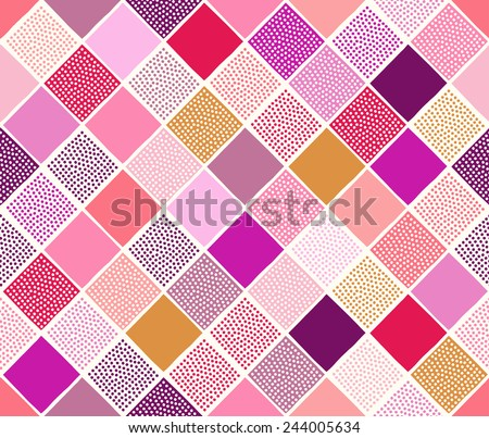 seamless multicolor geometric dots texture tiles pattern - stock vector