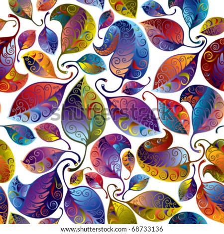 Seamless multicolor leaves pattern, stylized ornamental background - stock vector