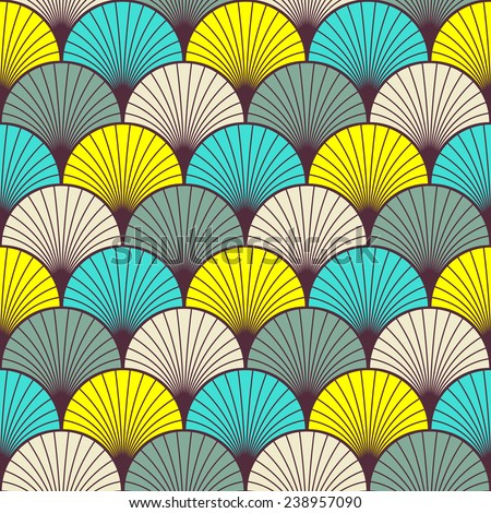 seamless multicolored art deco pattern of overlapping arcs. each color in separate layer. - stock vector