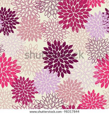 Seamless Mum Flower Background - stock vector