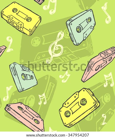Seamless Music Background-Vintage style background, properly grouped cassette tapes vectorized from my sketch
