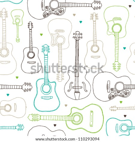 Seamless music guitar instrument background pattern in vector - stock vector
