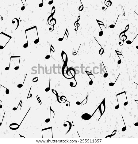 Seamless music notes vector pattern