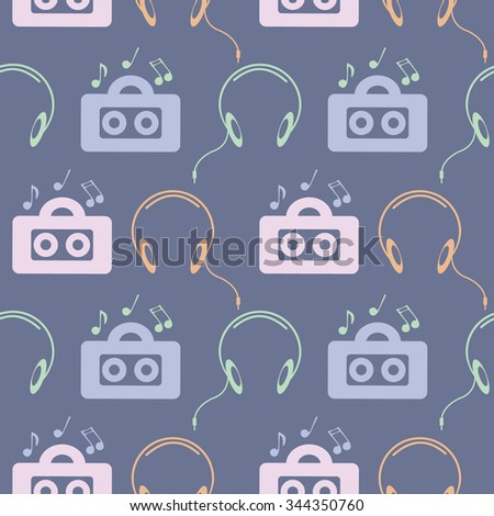 Seamless music vector pattern, symmetrical background with colorful music player, headphones and notes, over blue backdrop