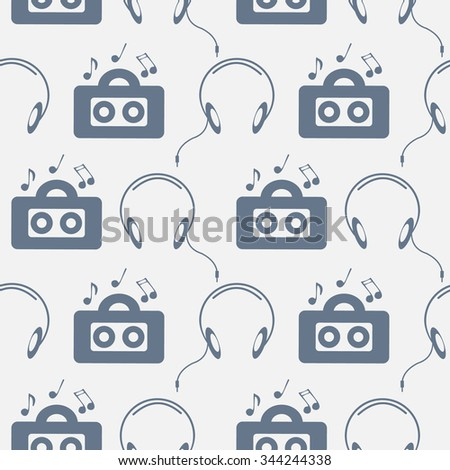 Seamless music vector pattern, symmetrical background with music player, headphones, notes, over light backdrop - stock vector