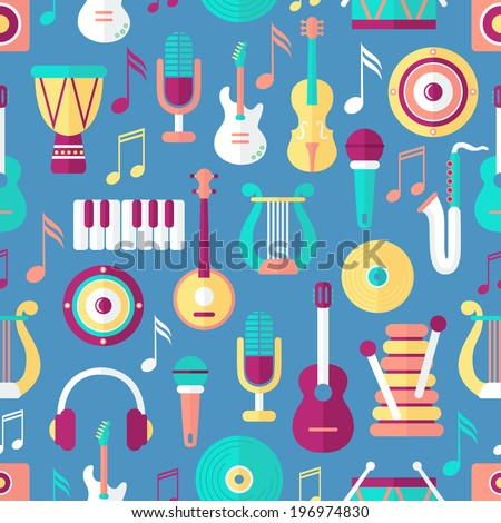 Seamless musical pattern. Flat style - stock vector