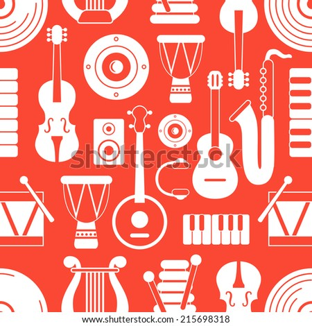 Seamless musical pattern on red background.Vector illustration - stock vector