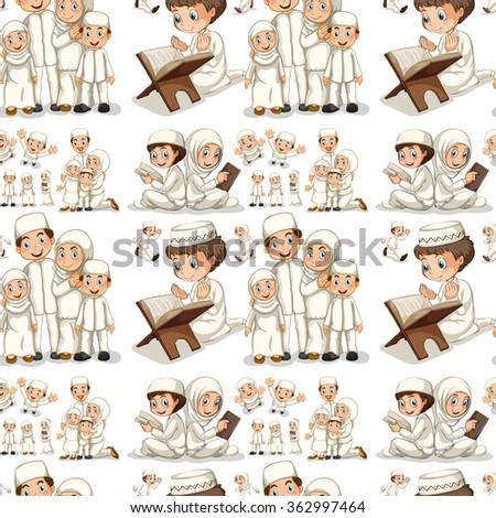 Seamless muslim reading and praying illustration - stock vector