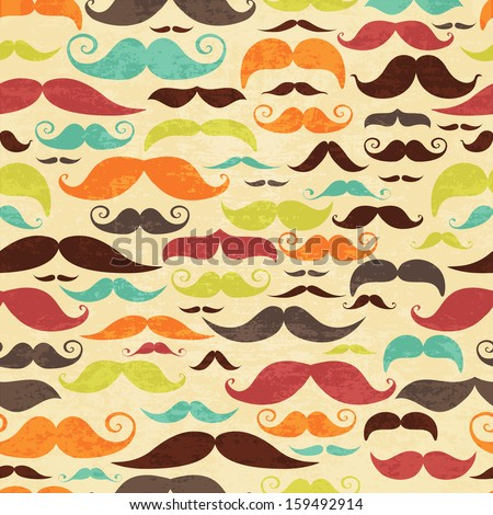 Seamless mustashe background in vintage style - stock vector