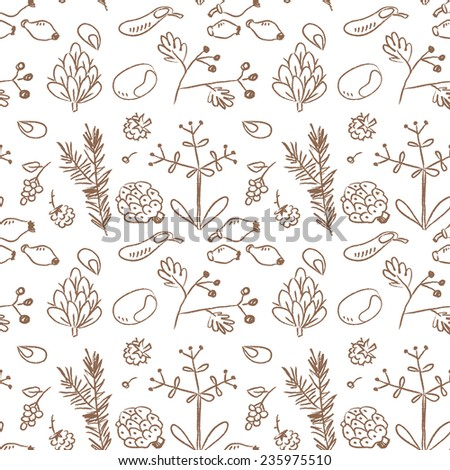 Seamless nature pattern, seeds, plants. Doodle, sketchy style, line art vector illustration. - stock vector