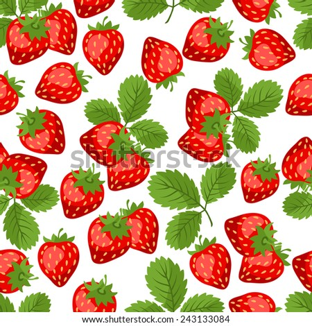 Seamless nature pattern with stylized fresh strawberries. - stock vector