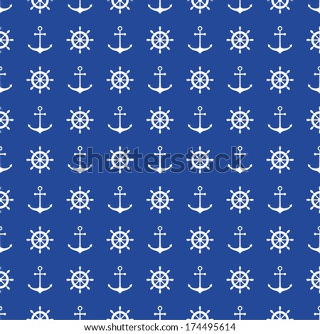 Seamless nautical background with anchors and ship wheels ...