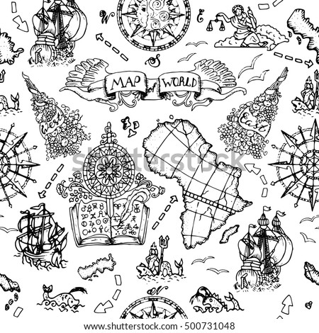 Seamless Nautical Background World Map Elements Stock Vector - Black and white vintage world map