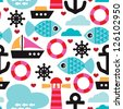 Seamless nautical ocean sea life kids background pattern in vector - stock photo