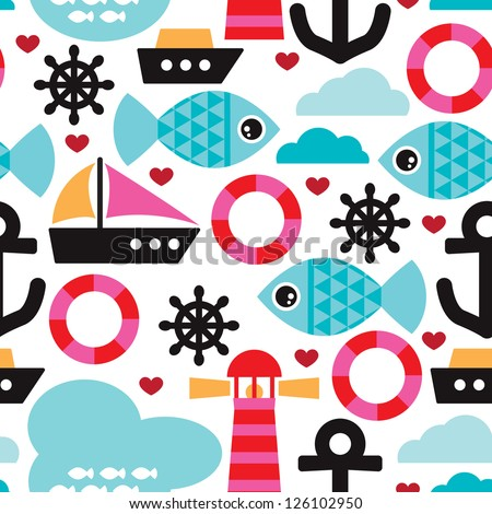 Seamless nautical ocean sea life kids background pattern in vector - stock vector