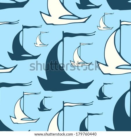 Seamless nautical pattern with vintage decorative sailing boats. Vector illustration