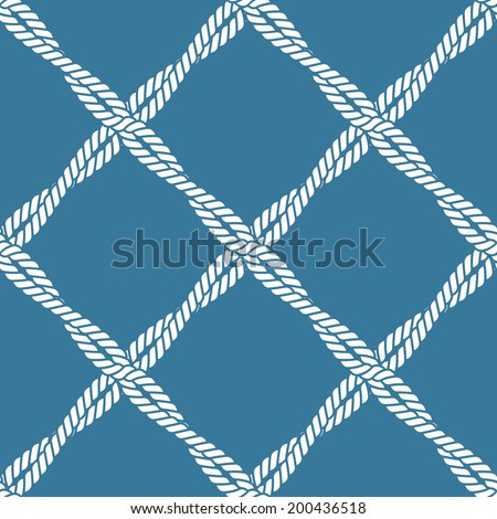 Seamless nautical rope knot pattern - stock vector