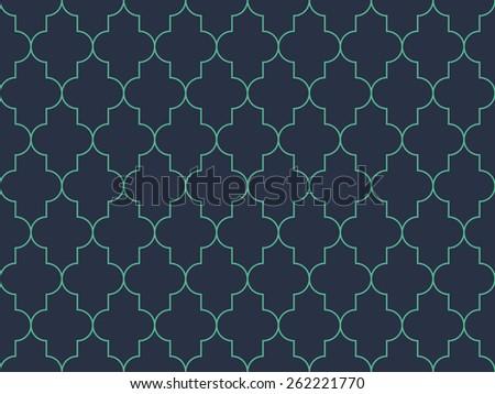Seamless neon blue moroccan pattern vector - stock vector