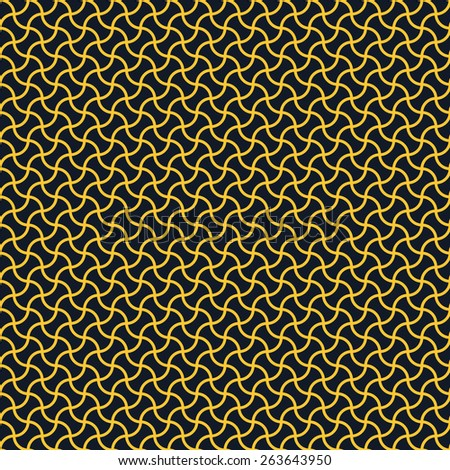 Seamless neon orange arc based geometric pattern vector - stock vector